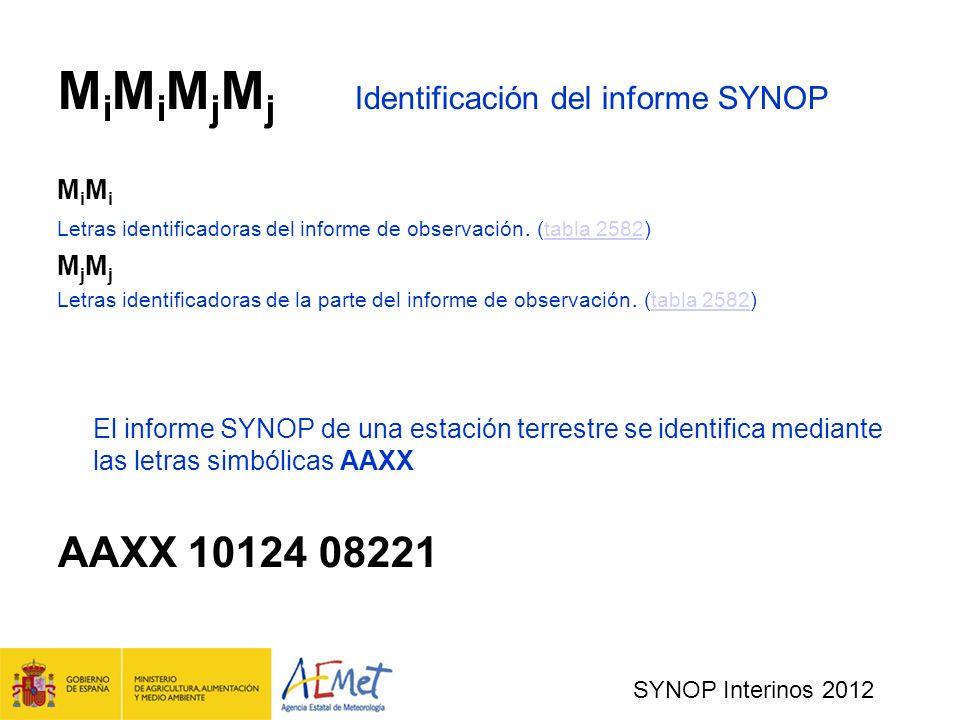 SYNOP Interinos 2012 M i M i M j M j Identificación del informe SYNOP M i Letras identificadoras del informe de observación.