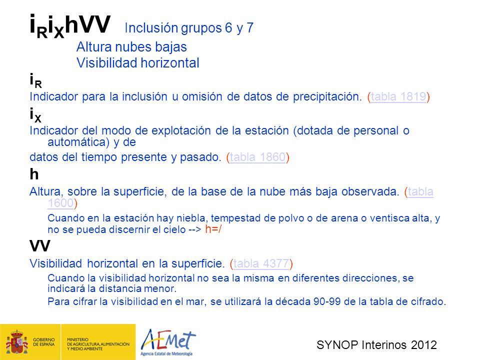 SYNOP Interinos 2012 i R i X hVV Inclusión grupos 6 y 7 Altura nubes bajas Visibilidad horizontal i R Indicador para la inclusión u omisión de datos de precipitación.