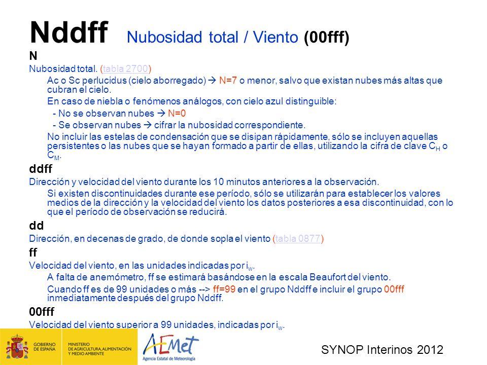 SYNOP Interinos 2012 Nddff Nubosidad total / Viento (00fff) N Nubosidad total.