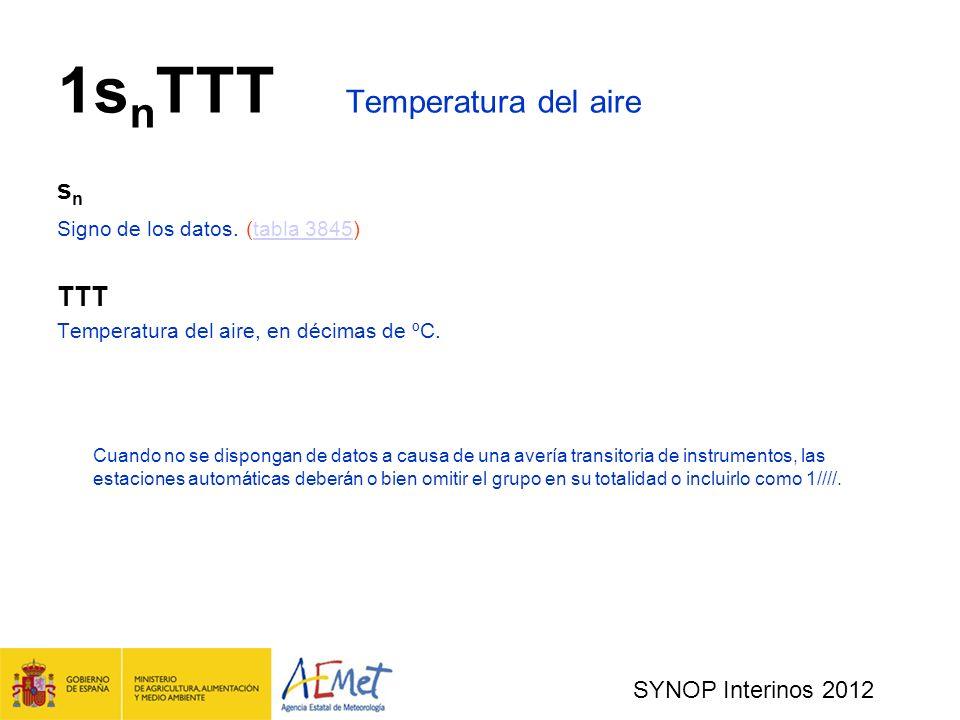 SYNOP Interinos 2012 1s n TTT Temperatura del aire s n Signo de los datos.