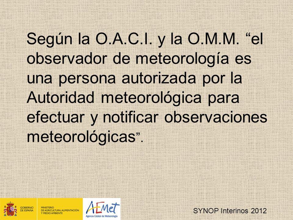 SYNOP Interinos 2012 Según la O.A.C.I.y la O.M.M.