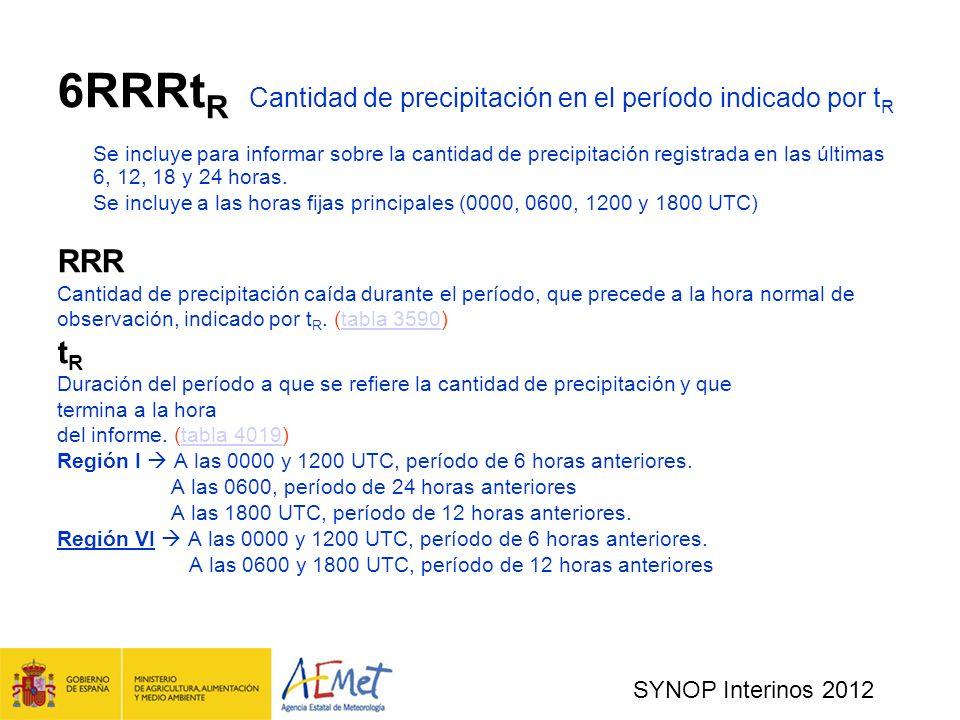 SYNOP Interinos 2012 6RRRt R Cantidad de precipitación en el período indicado por t R Se incluye para informar sobre la cantidad de precipitación registrada en las últimas 6, 12, 18 y 24 horas.