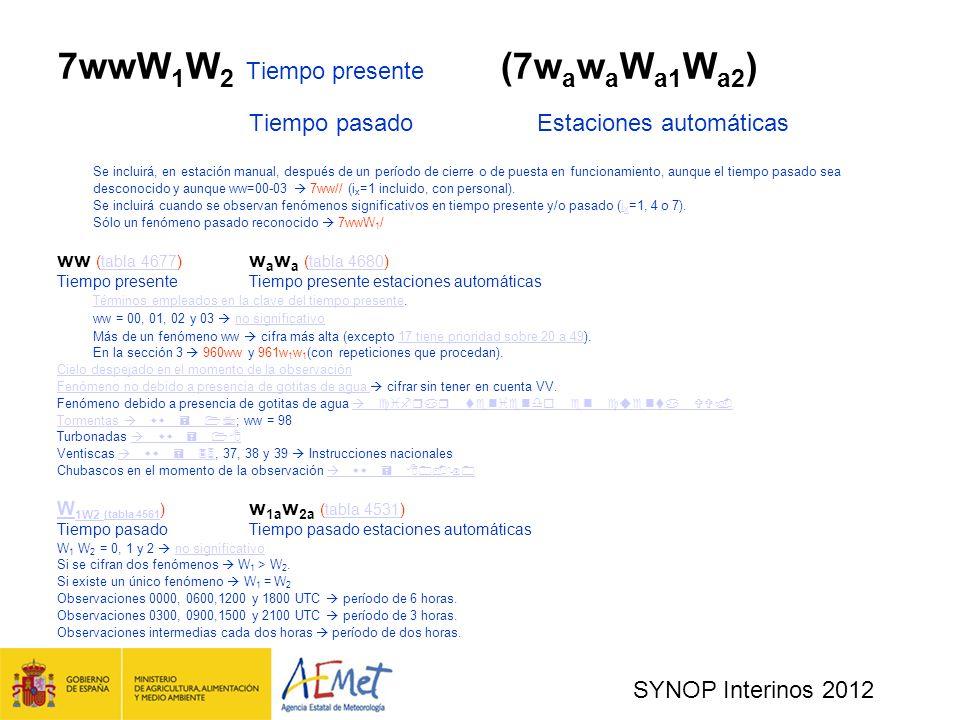 SYNOP Interinos 2012 7wwW 1 W 2 Tiempo presente (7w a w a W a1 W a2 ) Tiempo pasadoEstaciones automáticas Se incluirá, en estación manual, después de un período de cierre o de puesta en funcionamiento, aunque el tiempo pasado sea desconocido y aunque ww=00-03 7ww// (i x =1 incluido, con personal).