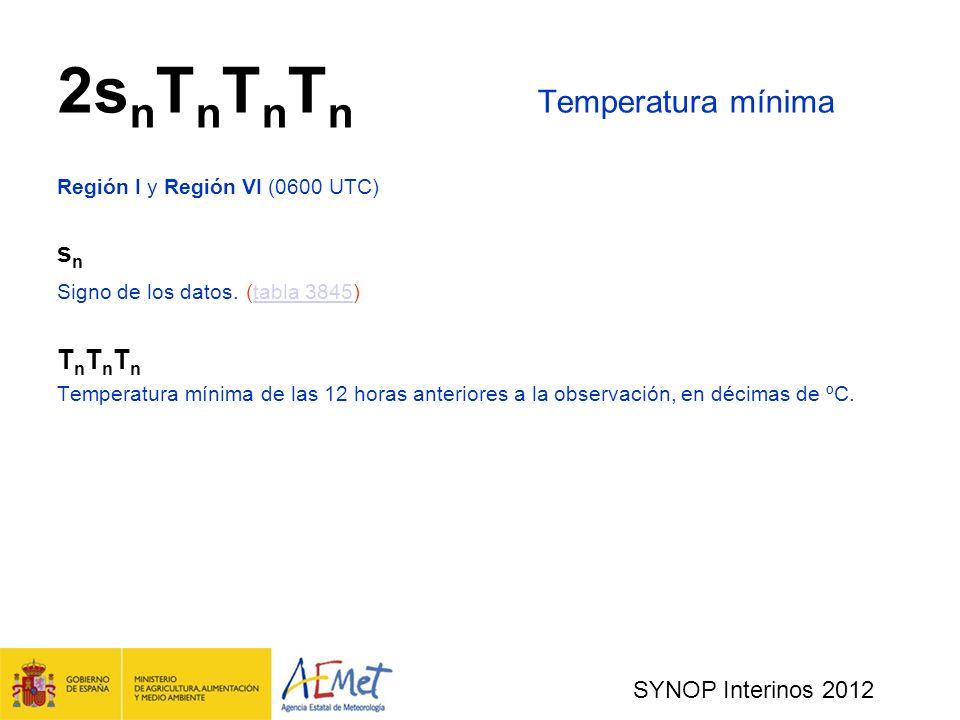 SYNOP Interinos 2012 2s n T n T n T n Temperatura mínima Región I y Región VI (0600 UTC) s n Signo de los datos.