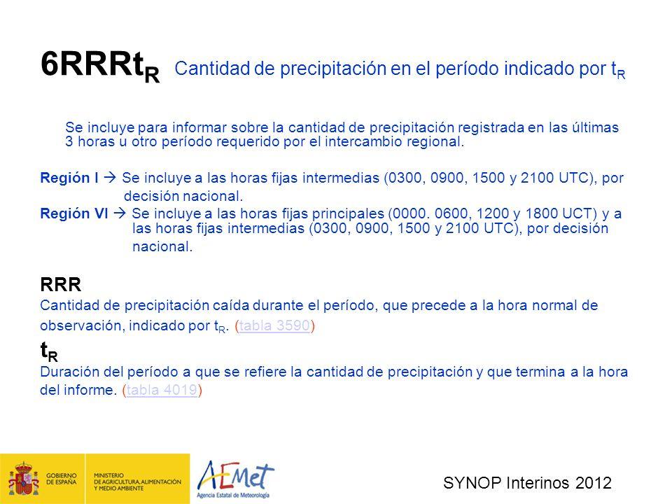 SYNOP Interinos 2012 6RRRt R Cantidad de precipitación en el período indicado por t R Se incluye para informar sobre la cantidad de precipitación registrada en las últimas 3 horas u otro período requerido por el intercambio regional.