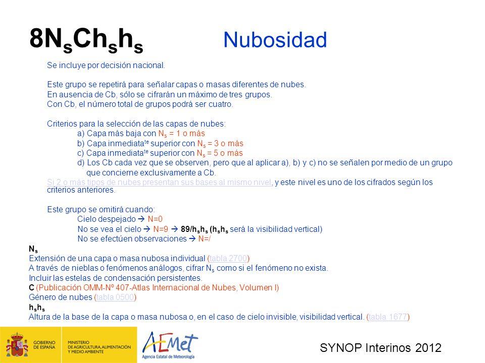 SYNOP Interinos 2012 8N s Ch s h s Nubosidad Se incluye por decisión nacional.