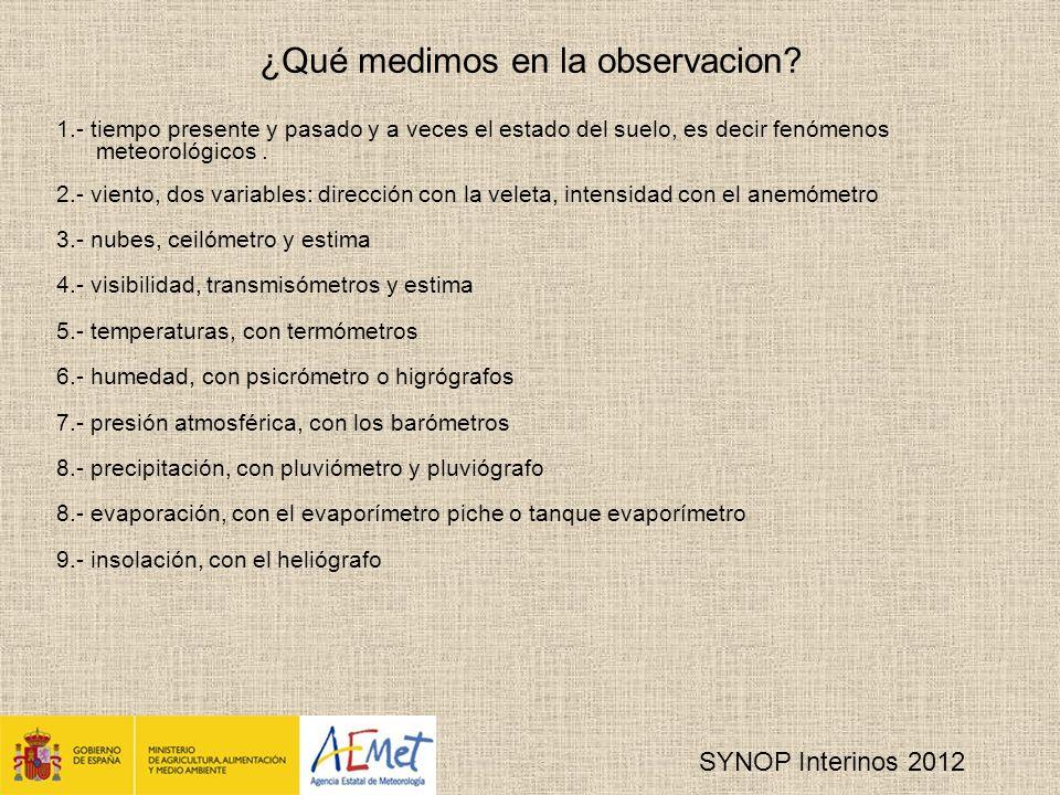 SYNOP Interinos 2012 ¿Qué medimos en la observacion.