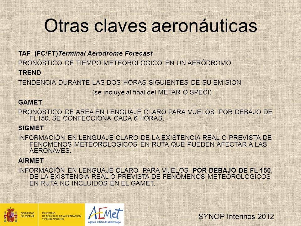 SYNOP Interinos 2012 7R 24 R 24 R 24 R 24 Cantidad de precipitación diaria Región I y Región VI (0600 UTC), por decisión nacional.