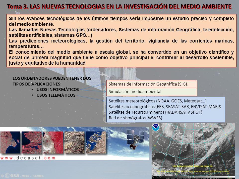 Tema 3. LAS NUEVAS TECNOLOGIAS EN LA INVESTIGACIÓN DEL MEDIO AMBIENTE Sin los avances tecnológicos de los últimos tiempos sería imposible un estudio p