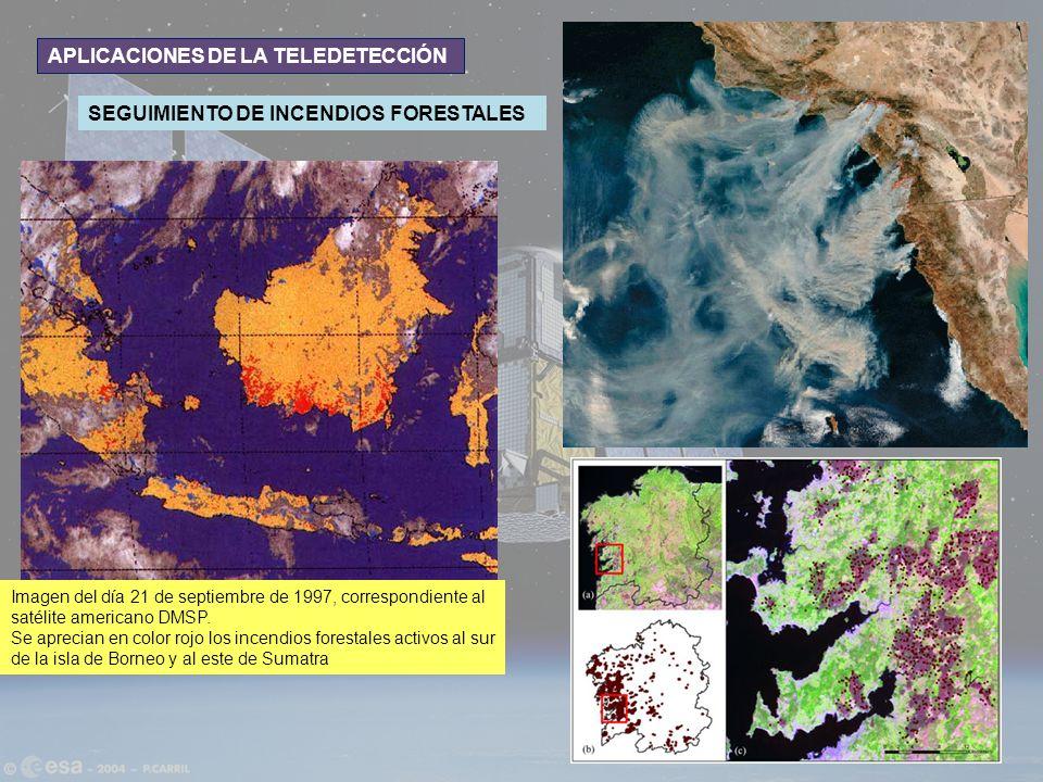 APLICACIONES DE LA TELEDETECCIÓN SEGUIMIENTO DE INCENDIOS FORESTALES Imagen del día 21 de septiembre de 1997, correspondiente al satélite americano DM