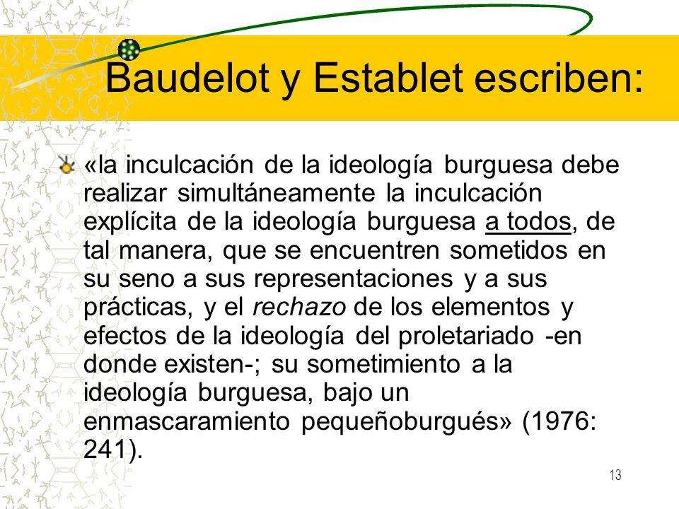 13 Baudelot y Establet escriben: «la inculcación de la ideología burguesa debe realizar simultáneamente la inculcación explícita de la ideología burgu