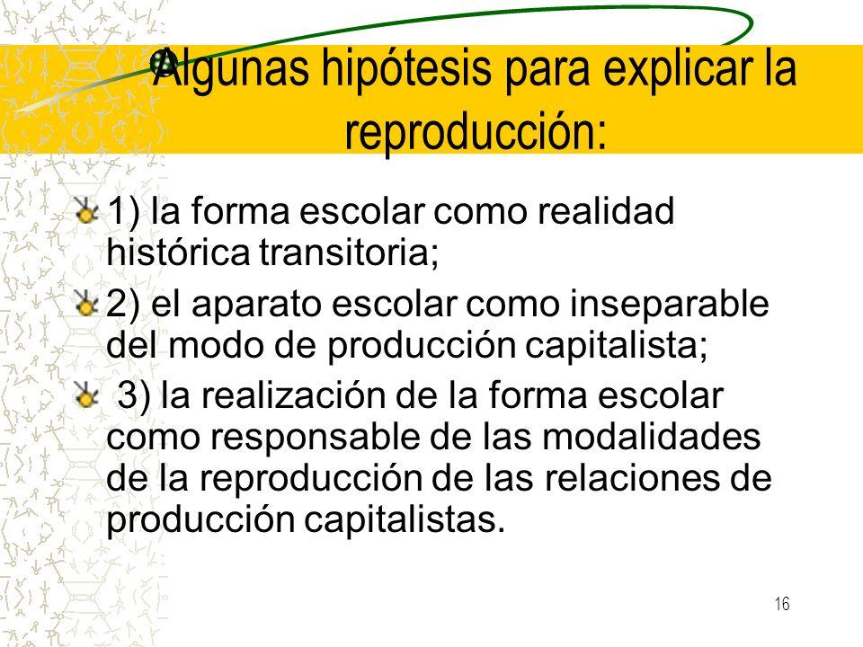 16 Algunas hipótesis para explicar la reproducción: 1) la forma escolar como realidad histórica transitoria; 2) el aparato escolar como inseparable de