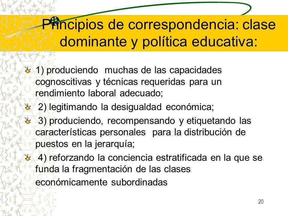 20 Principios de correspondencia: clase dominante y política educativa: 1) produciendo muchas de las capacidades cognoscitivas y técnicas requeridas p