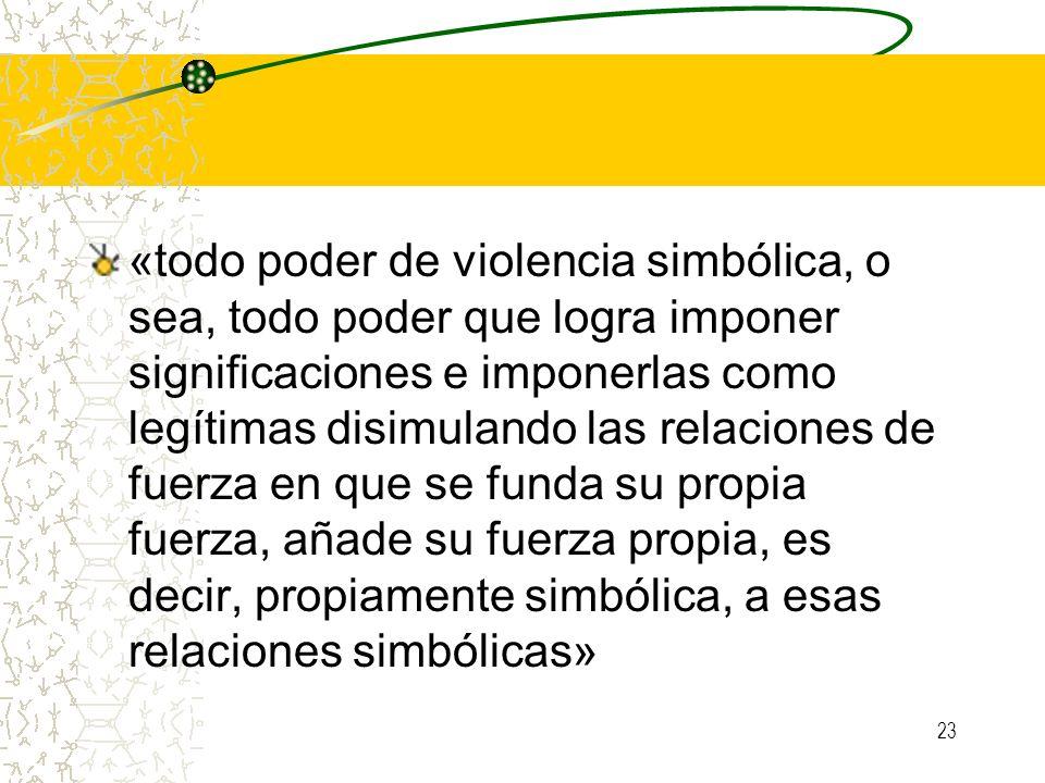 23 «todo poder de violencia simbólica, o sea, todo poder que logra imponer significaciones e imponerlas como legítimas disimulando las relaciones de f