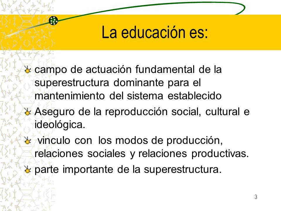 3 La educación es: campo de actuación fundamental de la superestructura dominante para el mantenimiento del sistema establecido Aseguro de la reproduc
