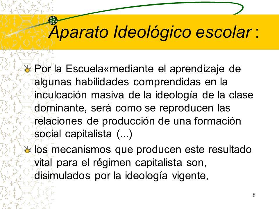 8 Aparato Ideológico escolar : Por la Escuela«mediante el aprendizaje de algunas habilidades comprendidas en la inculcación masiva de la ideología de