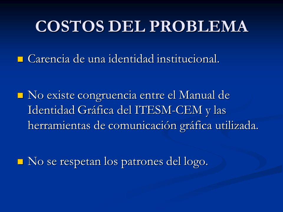 COSTOS DEL PROBLEMA Carencia de una identidad institucional.