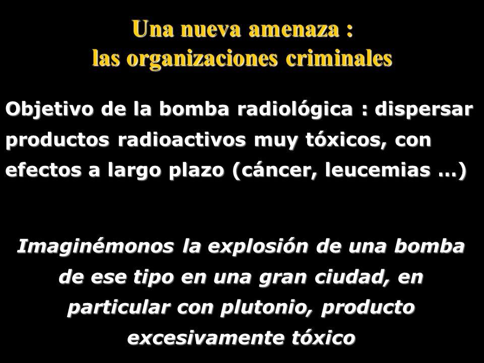 Una nueva amenaza : las organizaciones criminales La mayor amenaza actual : el uso de la bomba radiológica (bomba « sucia ») Explosivo convencional, r