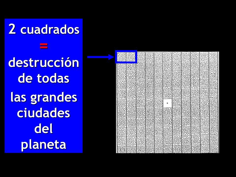2 cuadrados = destrucción de todas las grandes ciudades del planeta