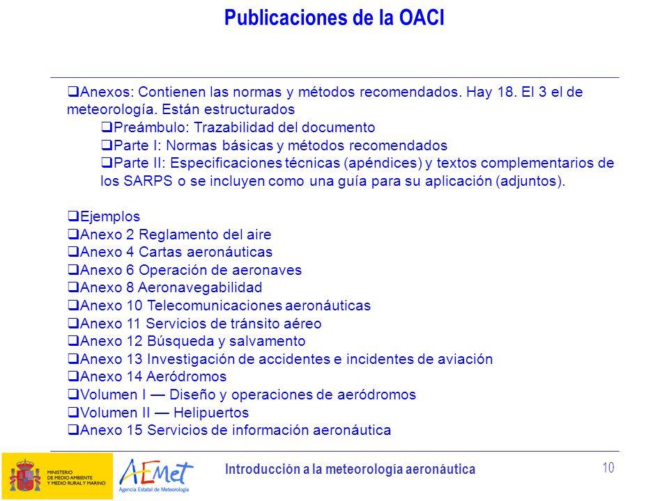 Introducción a la meteorología aeronáutica 10 Publicaciones de la OACI Anexos: Contienen las normas y métodos recomendados. Hay 18. El 3 el de meteoro