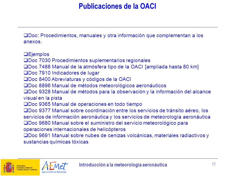Introducción a la meteorología aeronáutica 11 Publicaciones de la OACI Doc: Procedimientos, manuales y otra información que complementan a los anexos.