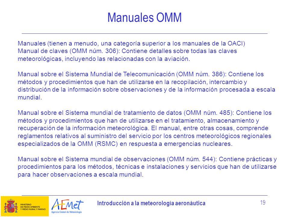 Introducción a la meteorología aeronáutica 19 Manuales OMM Manuales (tienen a menudo, una categoría superior a los manuales de la OACI) Manual de clav