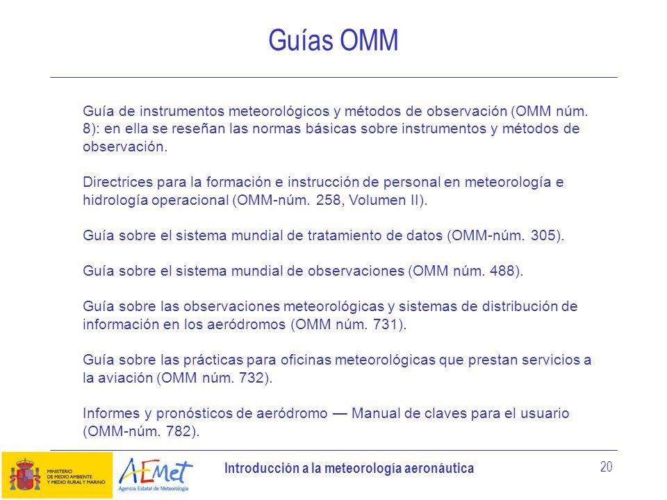 Introducción a la meteorología aeronáutica 20 Guías OMM Guía de instrumentos meteorológicos y métodos de observación (OMM núm. 8): en ella se reseñan