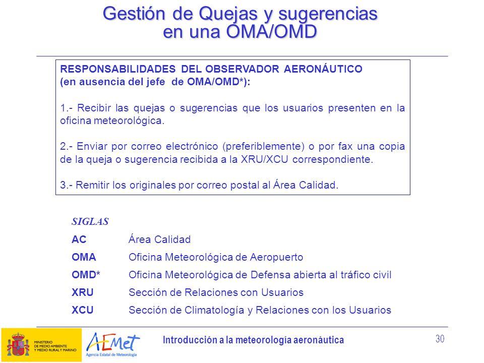 Introducción a la meteorología aeronáutica 30 Gestión de Quejas y sugerencias en una OMA/OMD RESPONSABILIDADES DEL OBSERVADOR AERONÁUTICO (en ausencia