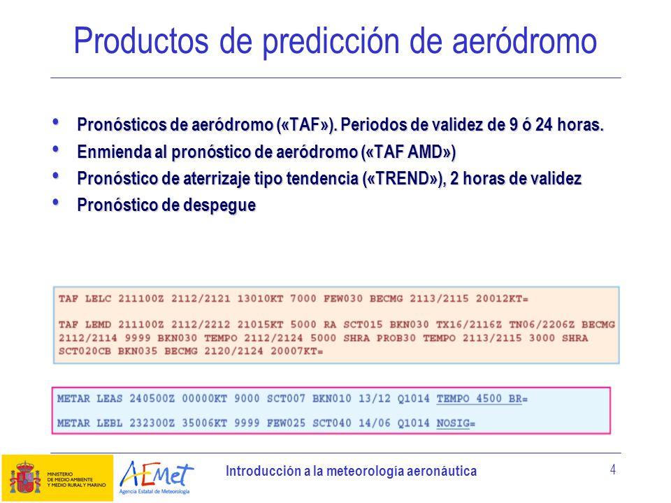 Introducción a la meteorología aeronáutica 5 Productos de predicción de aeródromo Avisos de aeródromo, con periodos de validez de hasta 24 horas.