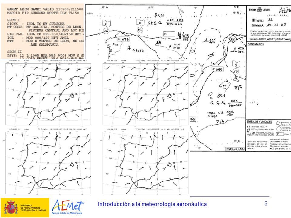 Introducción a la meteorología aeronáutica 6 Productos de predicción de área Los productos de predicción de área son: - Pronóstico de área («GAMET»).