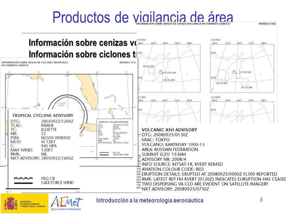 Introducción a la meteorología aeronáutica 8 Productos de vigilancia de área Información sobre cenizas volcánicas Información sobre ciclones tropicale