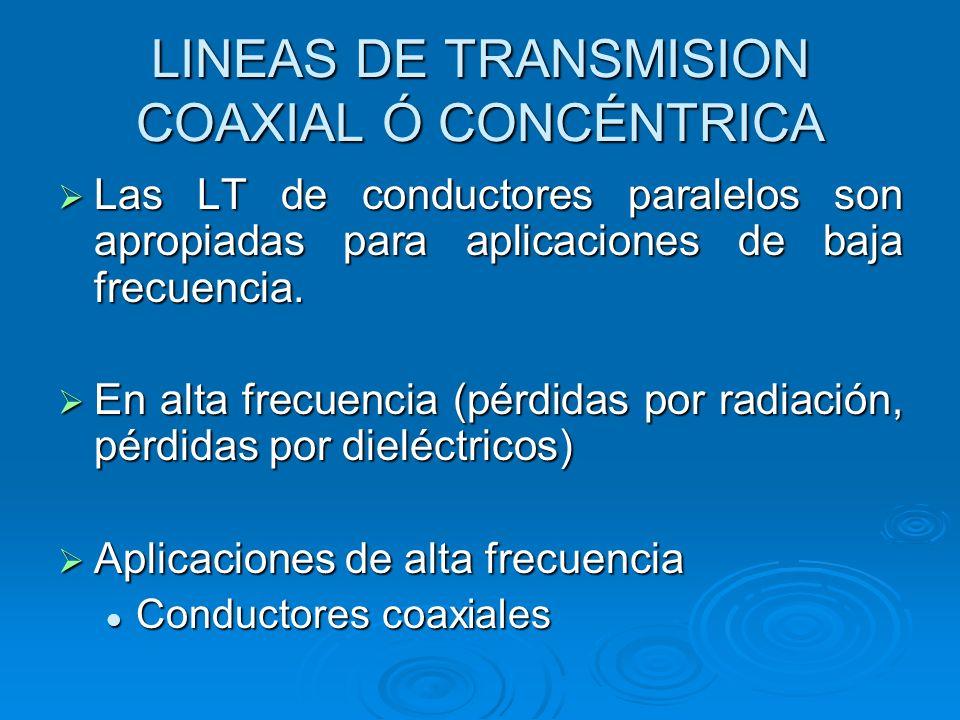 LINEAS DE TRANSMISION COAXIAL Ó CONCÉNTRICA Las LT de conductores paralelos son apropiadas para aplicaciones de baja frecuencia. Las LT de conductores