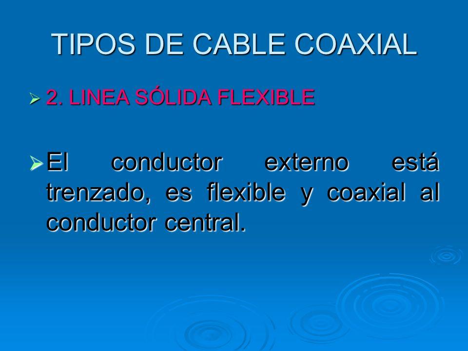 TIPOS DE CABLE COAXIAL 2. LINEA SÓLIDA FLEXIBLE 2. LINEA SÓLIDA FLEXIBLE El conductor externo está trenzado, es flexible y coaxial al conductor centra