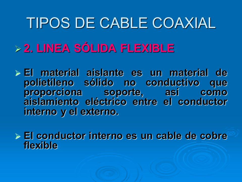 TIPOS DE CABLE COAXIAL 2. LINEA SÓLIDA FLEXIBLE 2. LINEA SÓLIDA FLEXIBLE El material aislante es un material de polietileno sólido no conductivo que p