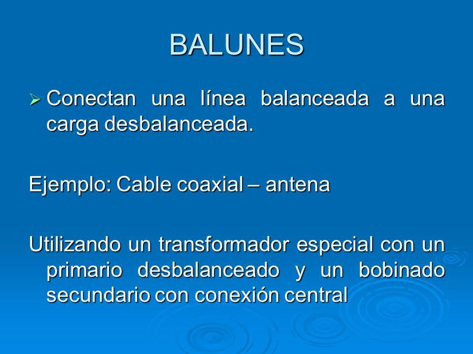 BALUNES Conectan una línea balanceada a una carga desbalanceada. Conectan una línea balanceada a una carga desbalanceada. Ejemplo: Cable coaxial – ant