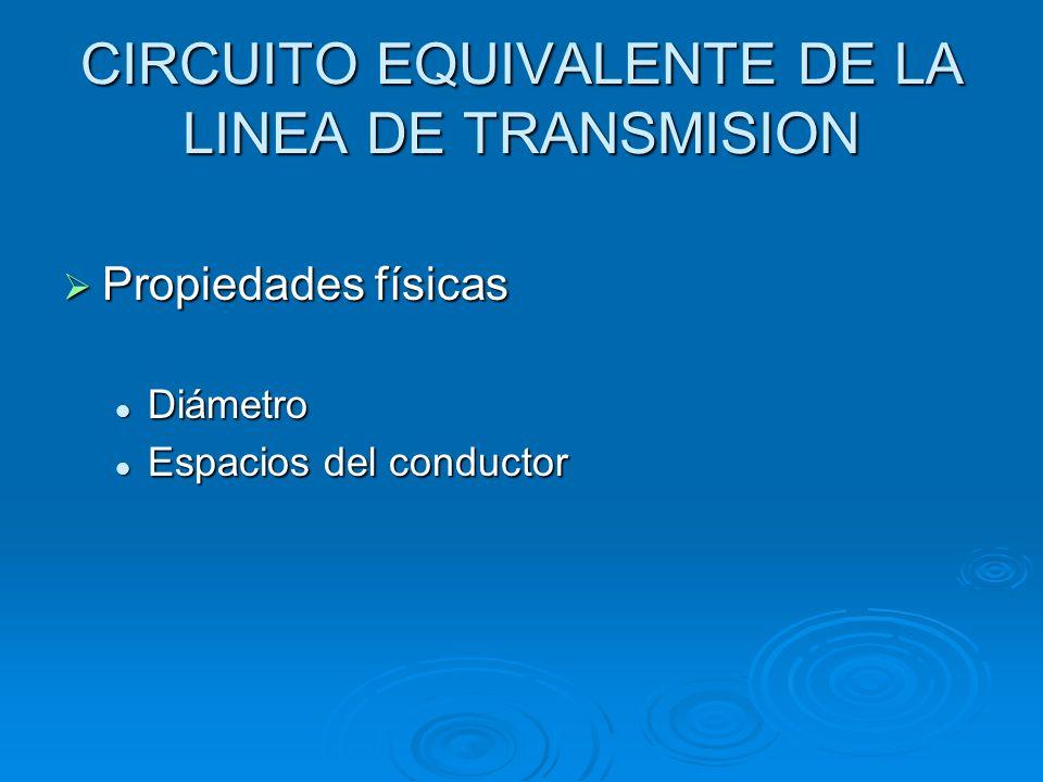 CIRCUITO EQUIVALENTE DE LA LINEA DE TRANSMISION Propiedades físicas Propiedades físicas Diámetro Diámetro Espacios del conductor Espacios del conducto