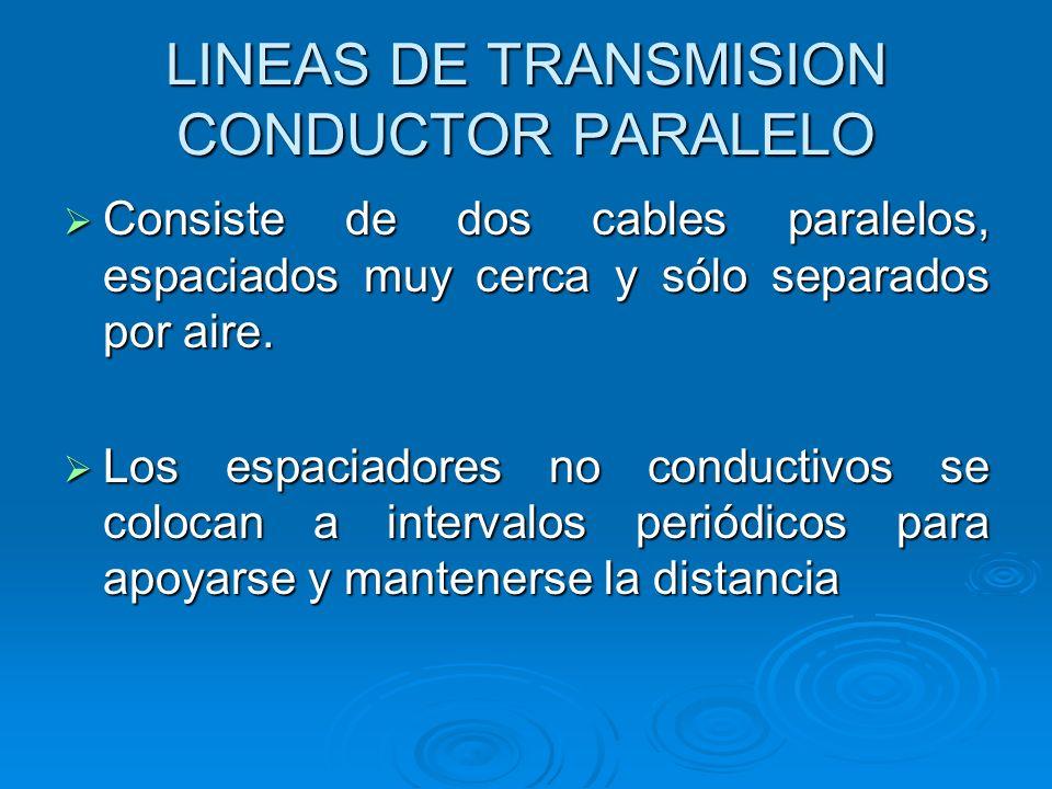 LINEAS DE TRANSMISION CONDUCTOR PARALELO Consiste de dos cables paralelos, espaciados muy cerca y sólo separados por aire. Consiste de dos cables para
