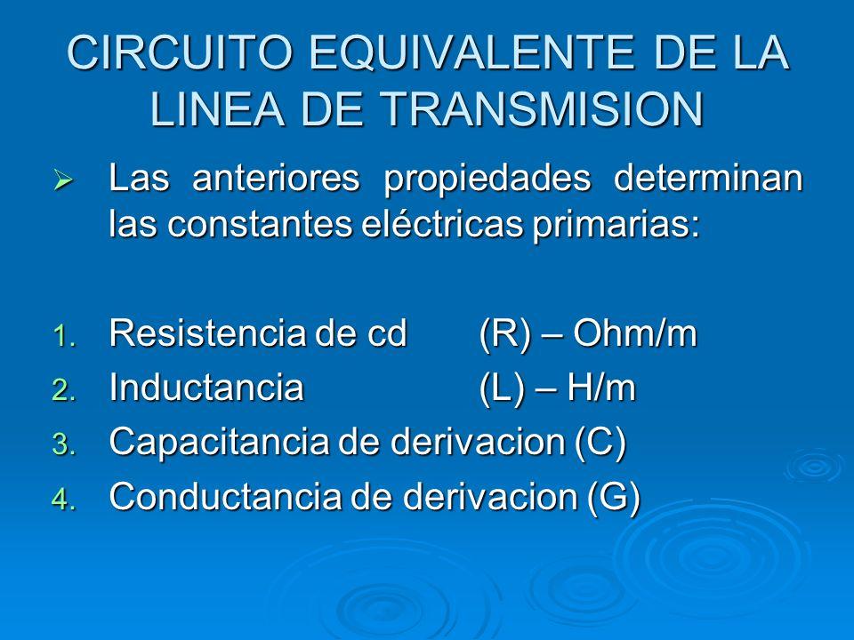 CIRCUITO EQUIVALENTE DE LA LINEA DE TRANSMISION Las anteriores propiedades determinan las constantes eléctricas primarias: Las anteriores propiedades