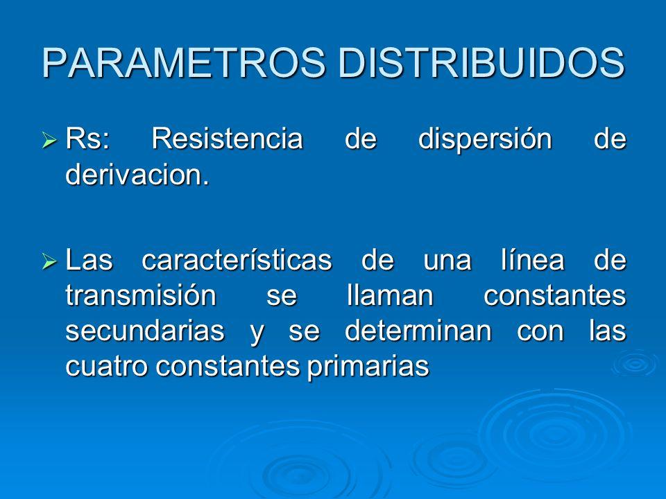 Rs: Resistencia de dispersión de derivacion. Rs: Resistencia de dispersión de derivacion. Las características de una línea de transmisión se llaman co