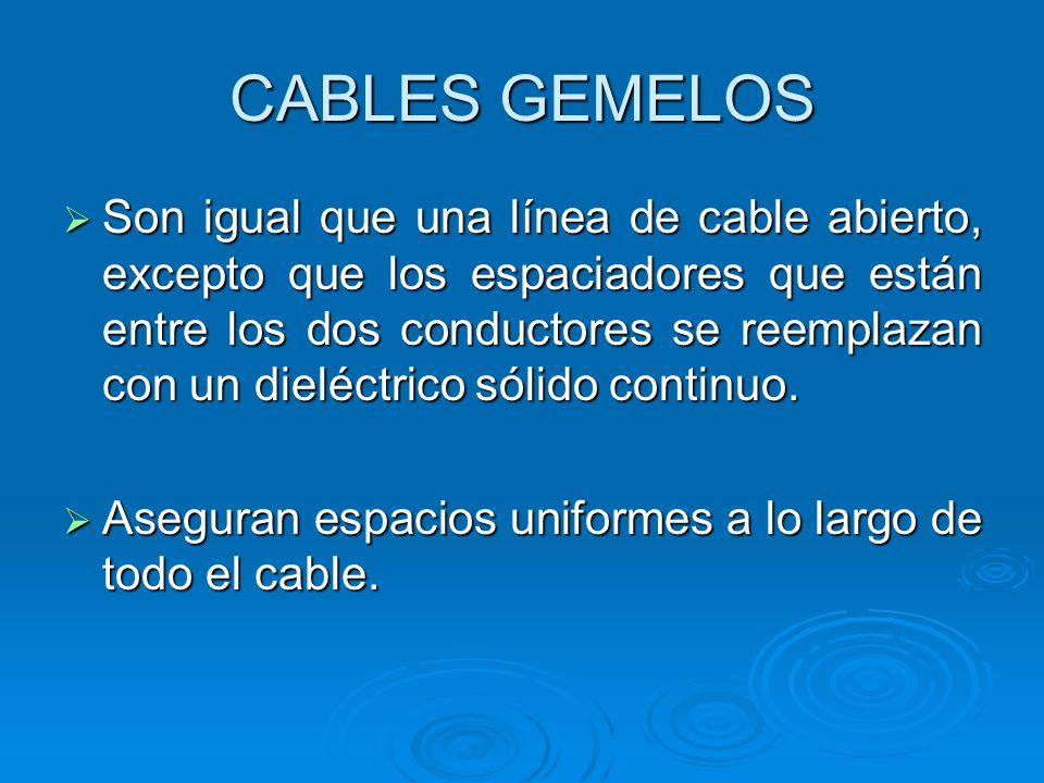 CABLES GEMELOS Son igual que una línea de cable abierto, excepto que los espaciadores que están entre los dos conductores se reemplazan con un dieléct