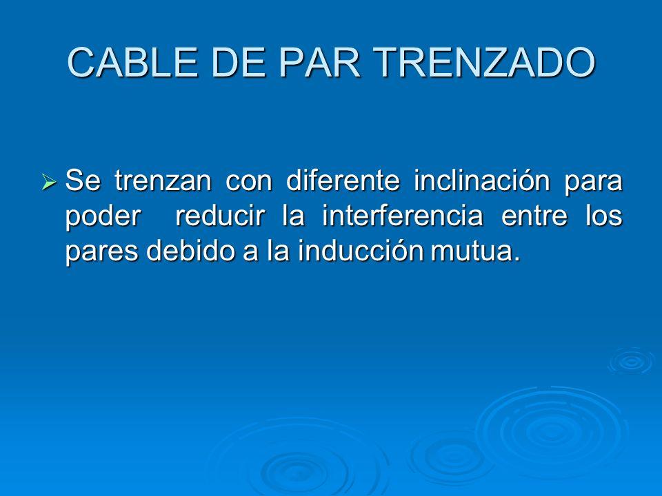 CABLE DE PAR TRENZADO Se trenzan con diferente inclinación para poder reducir la interferencia entre los pares debido a la inducción mutua. Se trenzan