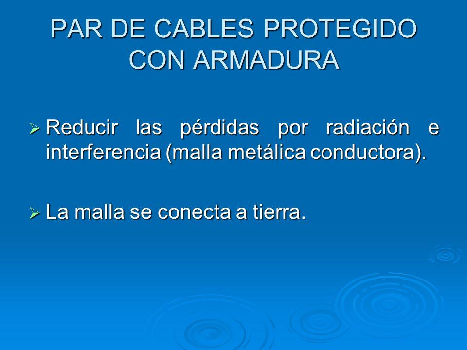 PAR DE CABLES PROTEGIDO CON ARMADURA Reducir las pérdidas por radiación e interferencia (malla metálica conductora). Reducir las pérdidas por radiació