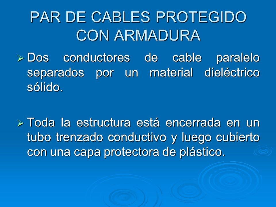 PAR DE CABLES PROTEGIDO CON ARMADURA Dos conductores de cable paralelo separados por un material dieléctrico sólido. Dos conductores de cable paralelo