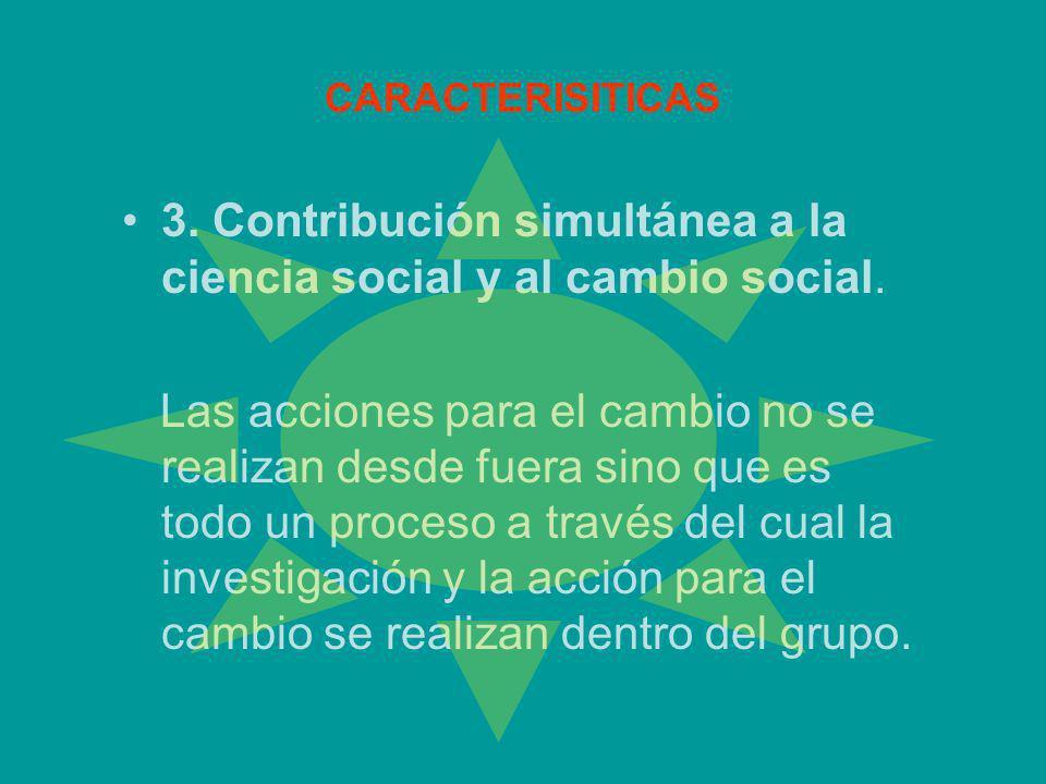 CARACTERISITICAS 3. Contribución simultánea a la ciencia social y al cambio social. Las acciones para el cambio no se realizan desde fuera sino que es