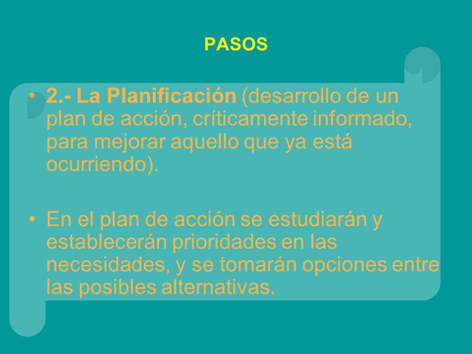 PASOS 2.- La Planificación (desarrollo de un plan de acción, críticamente informado, para mejorar aquello que ya está ocurriendo). En el plan de acció