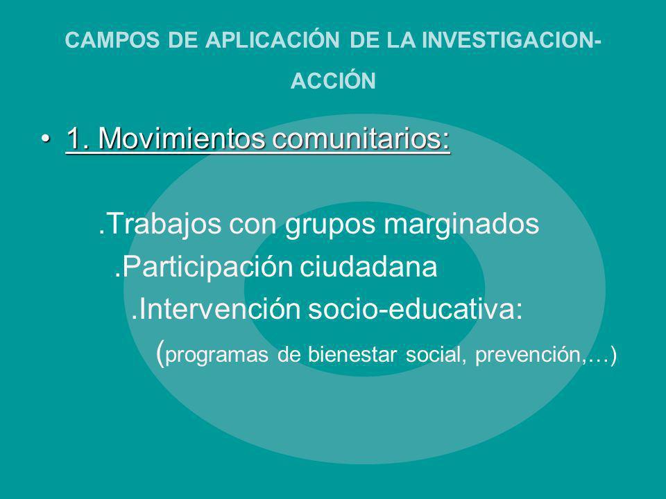 CAMPOS DE APLICACIÓN DE LA INVESTIGACION- ACCIÓN 1. Movimientos comunitarios:1. Movimientos comunitarios:.Trabajos con grupos marginados.Participación