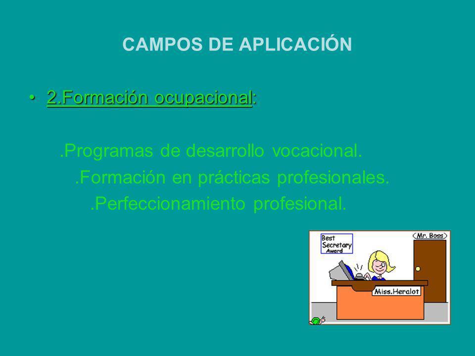CAMPOS DE APLICACIÓN 2.Formación ocupacional:2.Formación ocupacional:.Programas de desarrollo vocacional..Formación en prácticas profesionales..Perfec