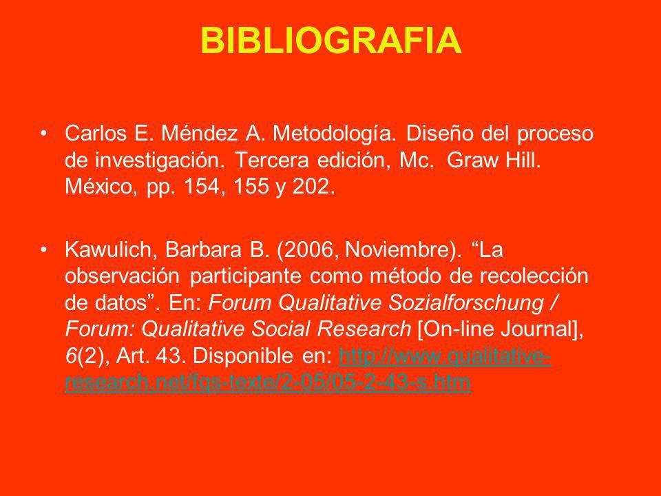 BIBLIOGRAFIA Carlos E. Méndez A. Metodología. Diseño del proceso de investigación. Tercera edición, Mc. Graw Hill. México, pp. 154, 155 y 202. Kawulic