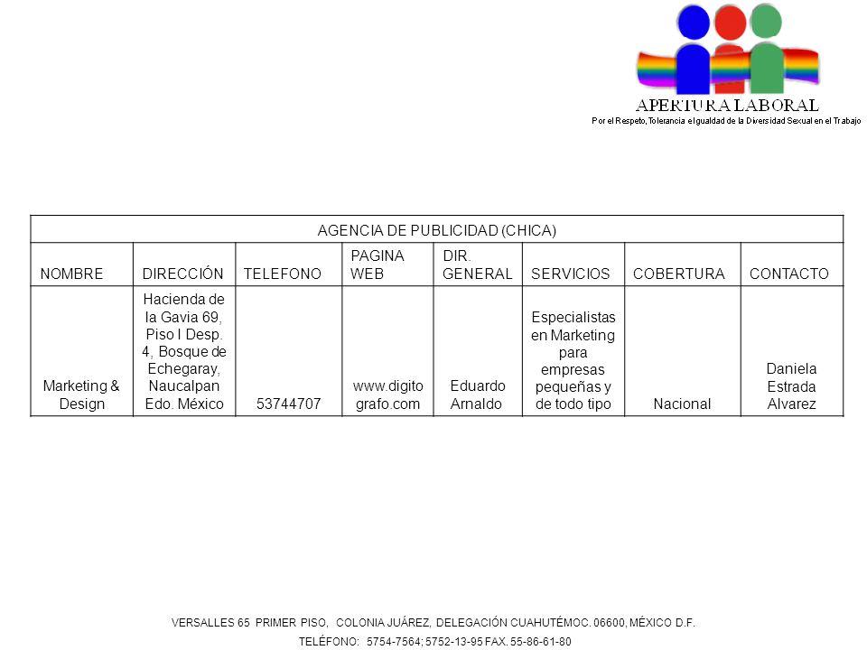 AGENCIA DE PUBLICIDAD (CHICA) NOMBREDIRECCIÓNTELEFONO PAGINA WEB DIR. GENERALSERVICIOSCOBERTURACONTACTO Marketing & Design Hacienda de la Gavia 69, Pi