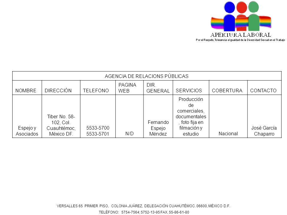 AGENCIA DE RELACIONS PÚBLICAS NOMBREDIRECCIÓNTELEFONO PAGINA WEB DIR. GENERALSERVICIOSCOBERTURACONTACTO Espejo y Asociados Tiber No. 58- 102, Col. Cua